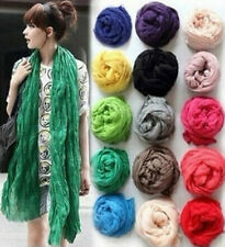 Hot 9Color Girls Women Solid Soft Crinkle Long Candy Scarf Wrap Shawl Stole