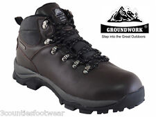 MENS WALKING BOOTS - HIKING BOOTS - WATERPROOF BROWN LEATHER SIZE 7 8 9 10 11