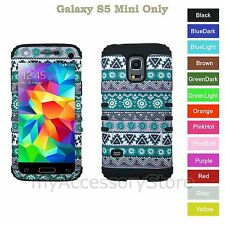 For Samsung Galaxy S5 Mini Tribal Flower Pattern Hybrid Rugged Impact Armor Case