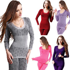 NEW Womens Sexy Lace Floral Long Johns Pajamas Set Thermal Underwear Body Shaper
