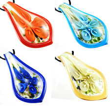 NEW trumpet flower inside lampwork art murano glass pendant leaf necklace