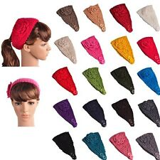 Ladies Girls Crochet Headband Knit hairband Flower Winter Ear Warmer Headwrap