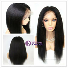 "100% Indian Remy Human Hair Kinky Straight 12""-20"" Lace Front Wig Full Head Wig"