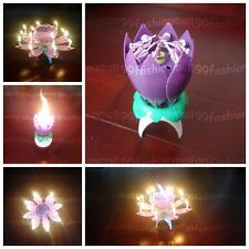Spinning Musical Birthday 14Mini Candle Lotus Flower Purple Sparkle Cake Topper