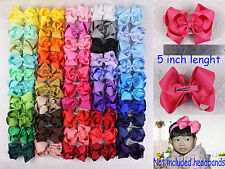 wholesale 6/12/18/24/50PC 5inch Solid Grosgrain Ribbon Hair Bows Clip(50 colors)