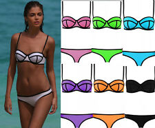 2015 Neu Neopren Lady Push up Bikini Triangle Bandeau Spleiß Bademode S-XL
