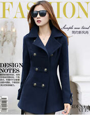 Fashion Women's Lady's Slim Fit double-breasted wool Trench Coat Jacket Outwear