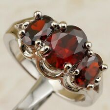 Size6.5 7.5 9 Three Garnet Red Stone Jewelry Gold Filled Woman Gift Ring K1753