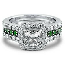 BERRICLE Sterling Silver Cushion CZ Halo Engagement Wedding Insert Ring Set