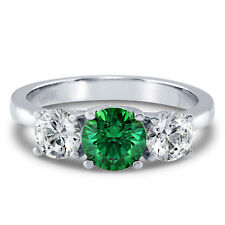 Silver 1.92 CT Green Swarovski Zirconia 3-Stone Promise Engagement Ring
