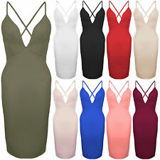 New Plunge V Neck Strappy Cross Back Midi Bodycon Fitted Stretch Party Dress