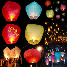 1pcs Chinese Wish Lanterns Paper Sky Fire Flying Wedding Party Lamp Multi Color