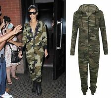 Womens Celeb Khaki Army Onesie Playsuit Military Camouflage Jumpsuit