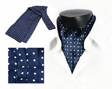 Stylish Mens 100% Mulberry Silk Long Scarf/Cravat Black Dot Blue Winter Muffler