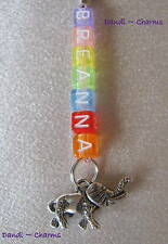 ELEPHANT 3D ~ Personalised Clip-On Zip / Bag Charm- *Choose Colour and Name*