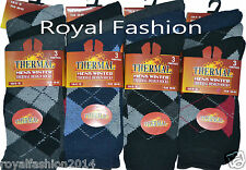 3x Pair Mens Thermal Socks Warm Winter Argyle Design Socks UK Size 6-11 EU 39-45