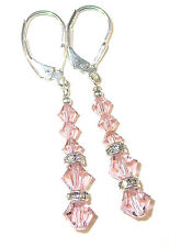 VINTAGE ROSE PINK Crystal Earrings Sterling Silver Dangle Swarovski Elements