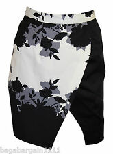 NEW BLACK IVORY WHITE BROWN FLORAL SHORT TULIP COTTON SMART SKIRT SIZE 8-16
