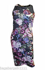 NEW ASOS BLACK PINK FLORAL HIGH NECK SMART MIDI WIGGLE PENCIL DRESS SIZE 8 - 14