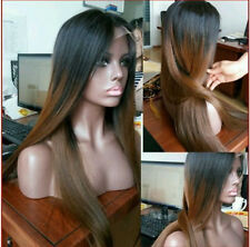 """100% Indian Remy Human Hair Silk Straight 12""""-24"""" Lace Full Wig Front Wig Hot"""