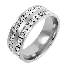 Stainless Steel Men's 2 Carat CZ Eternity Wedding Band Ring Size 8-13