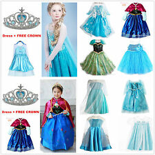 Fancy Frozen Princess Queen Elsa Anna Costume Party Dresses Age 3,4,5,6,7 Years