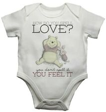How Do You Spell Love Beautiful Winnie the Pooh Quote Baby bodysuit vest grow