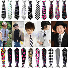 Cute School Boys Girls Childrens Kids Clip On Elastic Neck Tie Wedding Necktie