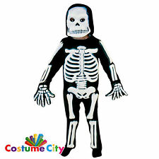 Boys Spooky X-Ray 3D Skeleton Suit Halloween Fancy Dress Costume + Mask