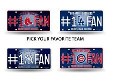 MLB Teams - #1 Fan Bling Glitter Metal License Plate Tag Auto Car Truck Wall