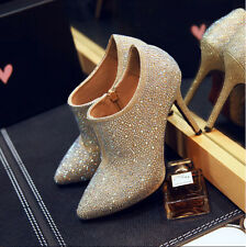 fashion womens ankle boots wedding gold rhinestones pointed toe leather shoes sz