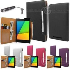 "Tan Wallet Leather Case Book Cover For ASUS Google Nexus 7"" FREE Black Stylus*"