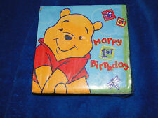 NEW PAPTY EXPRESS WINNIE THE POOH 1ST BIRTHDAY PAPER BEVERAGE OR LUNCHEON NAPKIN