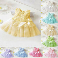 Newborn Baby Girls Kids Princess Pageant Party Tulle Lace Bow Flower 0-24M Dress