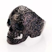 316L Stainless Steel Black Flower Hell Skull Biker Ring US7 8 9 10 11 12 13 14