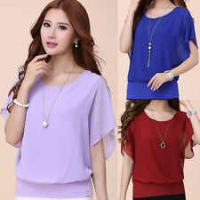 Korean Fashion Women's Loose Chiffon Tee Tops Batwing Sleeve Shirt Casual Blouse