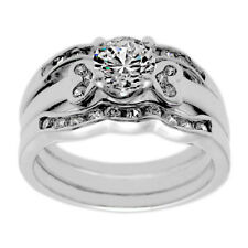 925 Sterling Silver 1.17 Carat CZ Engagement Ring Wedding Band Set