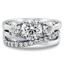 BERRICLE Sterling Silver CZ 3-Stone Criss Cross Engagement Ring Set 2.41 Carat