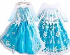 Frozen Queen Anna Elsa Dress Gown Costume Ice Princess Girl Size 2-10