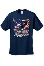 Men's T-Shirt God Bless America USA Flag Pride Bald Eagle Stars & Stripes Patri