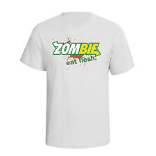 Zombie Eat Flesh Mens T-Shirt Funny Subway Spoof Gift Walking Dead Inspired