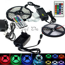 3528 5050 5M RGB 300 SMD Flexible LED Strip Light 44key Remote 12V Power Supply