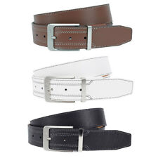 Nike G-FLEX Double Stitch Premium Golf Belt, Black White Cognac