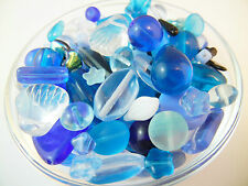 50/100/200g/HALF KILO BULK 4-30mm Czech Glass Beads Assorted Mix Soup - BLUE