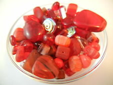 50/100/200g/HALF KILO BULK 4-30mm Czech Glass Beads Assorted Mix Soup - Red
