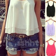 Sexy Women Summer Casual Sleeveless Shirt Chiffon Loose Vest Tank Top Blouse NEW