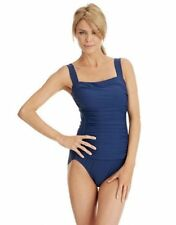 NWT INC Navy Blue One Piece Ruched Tank Swimsuit Bathing Suit Sizes 10 14 & 20