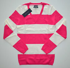 NWT Women's Tommy Hilfiger V-Neck Pullover Sweater Pink, White XS S M L XL 2XL