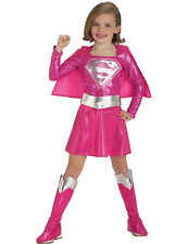 PINK SUPERGIRL Superhero Fancy Dress Costume Girls Outfit Child 2 - 7 yrs