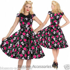 RKH85 Hearts & Roses Skully Chain Pin Up Rockabilly Evening Dress 50s Retro Plus